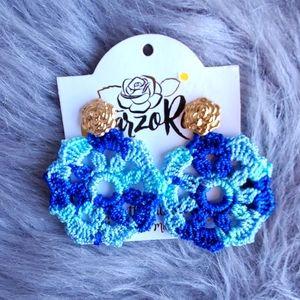 💙🦋Statement / long studs earrings blue boho